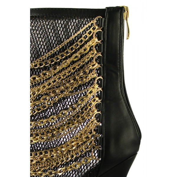 Women's Black Mesh Fashion Boots Metal Chain Stiletto Heel Ankle Boots image 3