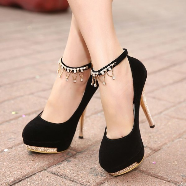 Black Ankle Strap Heels Platform Pumps Suede Shoes with Rhinestone image 1