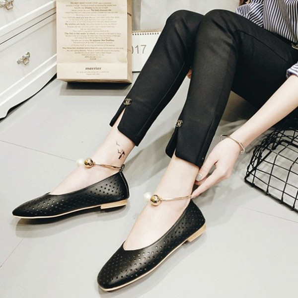 Women's Black Pearl Hollow Out Square Toe Vintage Comfortable Flats image 1