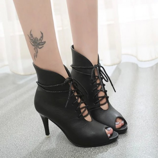 Women's Black Peep Toe Lace up Heels Ankle Summer Boots image 3