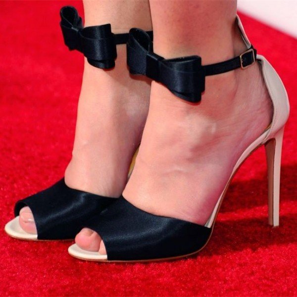 fe1c7f98ae4 Black Satin Bow Sandals Peep Toe Stiletto Heels Evening Shoes image 1 ...