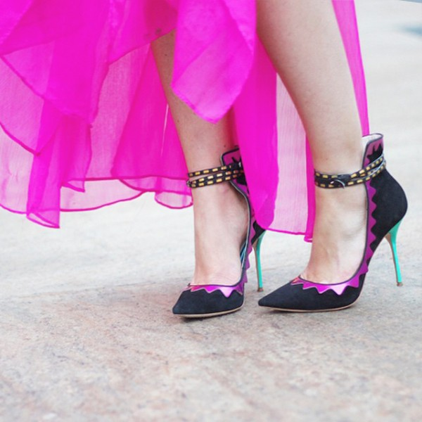 Women's Black Pointed Toe  Stiletto Ankle Strap Heels Shoes image 1