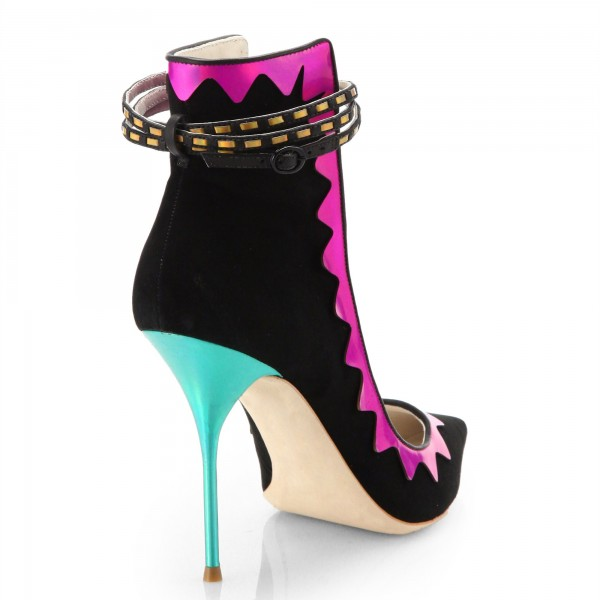 Women's Black Pointed Toe  Stiletto Ankle Strap Heels Shoes image 4