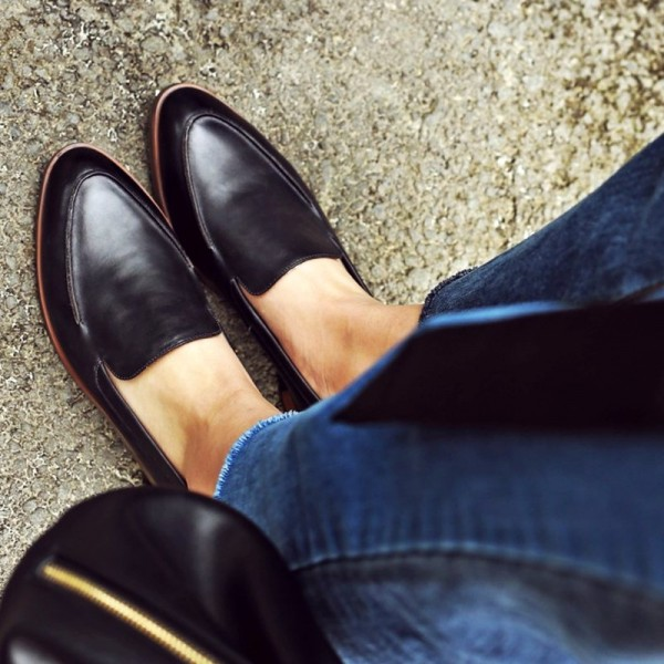 Black Vintage Pointy Toe Comfy Flat Loafers for Women US Size 3-15 image 1