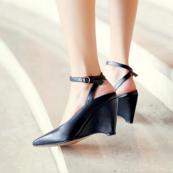 Women's Black Pointy Toe Ankle Strap Wedge Heels Pumps image 1