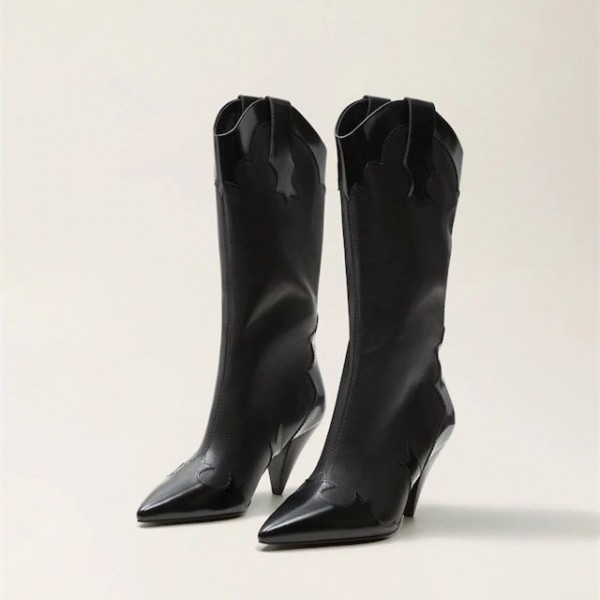 Women's Black Pointy Toe Fashion Boots Cone Heel Mid Calf Boots image 1