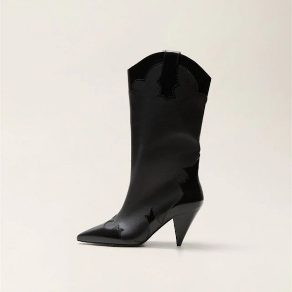 Women's Black Pointy Toe Fashion Boots Cone Heel Mid Calf Boots image 3