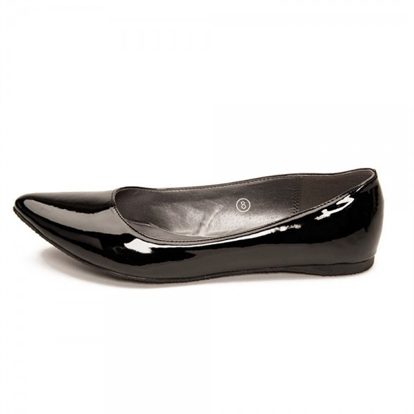 Women's Black Pointy Toe Flats Patent Leather Pumps image 1