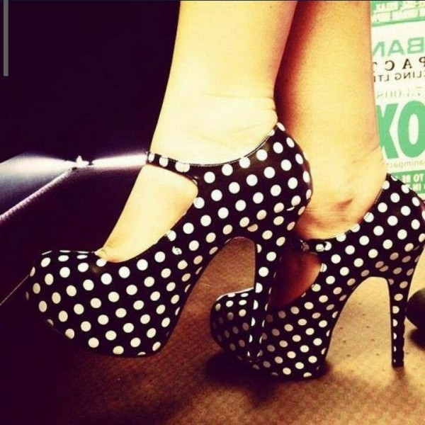 Black and White Heels Polka Dots Stiletto Heels Mary Jane Pumps image 5
