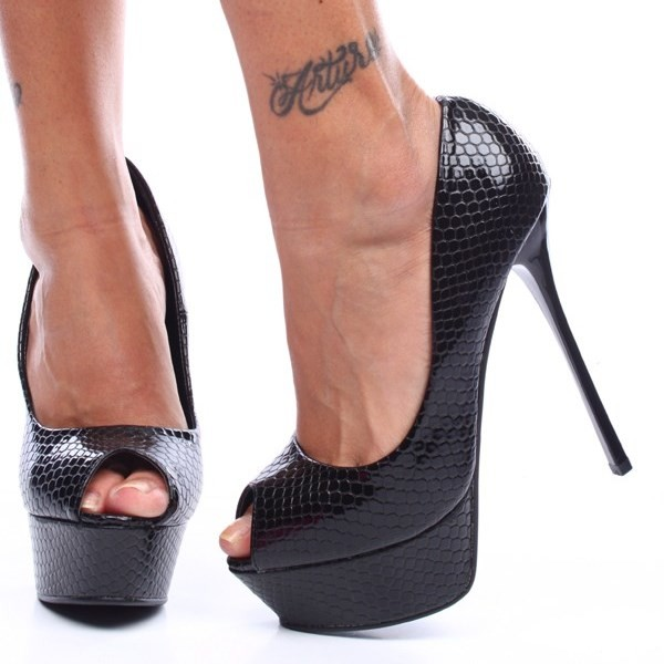 88e049a0d1c Women's Black Python Stripper Heels Peep Toe Platform Pumps