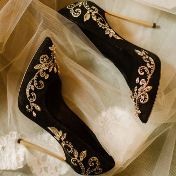 Black and Gold Wedding Heels Embroidered Rhinestone Pumps  image 1