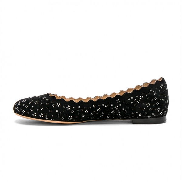 Women's Black Round Toe Floral Comfortable Flats image 2