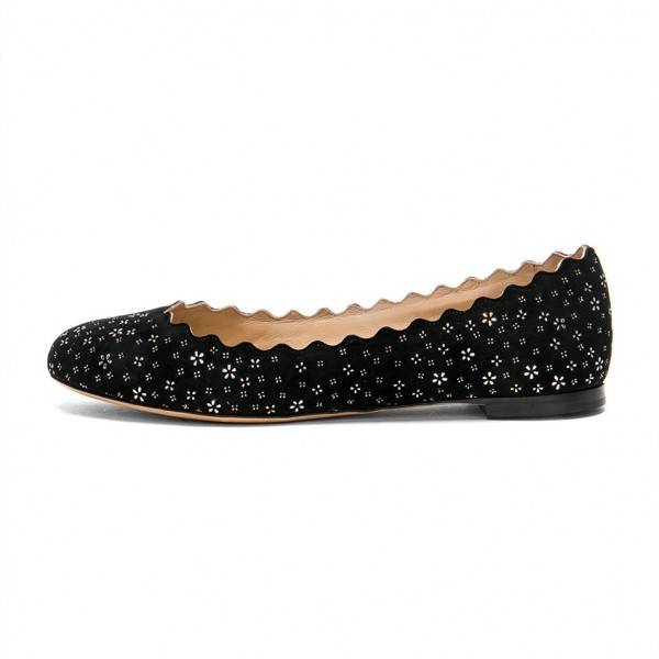 Women's Black Round Toe Floral Comfortable Flats image 3