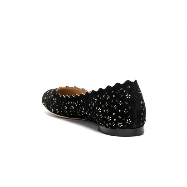 Women's Black Round Toe Floral Comfortable Flats image 4