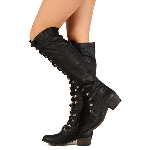 Black Lace up Boots Vintage Knee High Chunky Heel Boots image 2