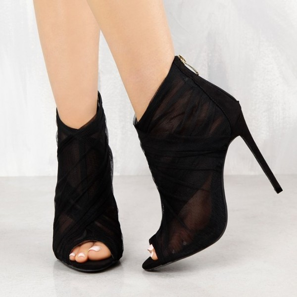 660146b4d5c2 Women s Black Sexy Lace Ankle Booties Peep Toe Heels Stiletto Heels image  ...