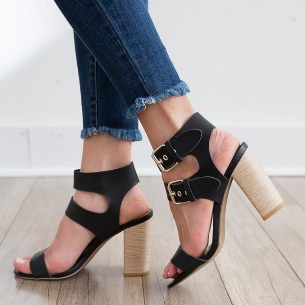 339b42cd570d Women s Black Slingback Heels Open Toe Buckle Chunky Heel Sandals image ...