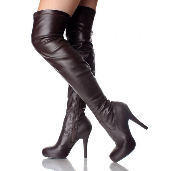 Dark Brown Thigh High Heel Boots Trendy Platform Long Boots image 1