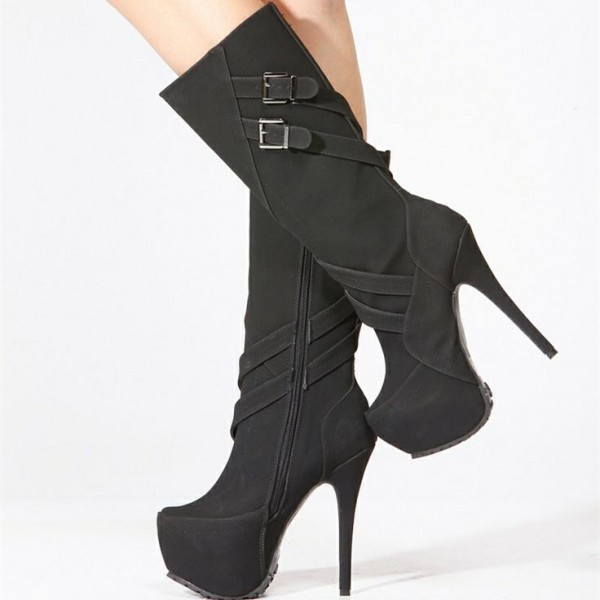 Women's Black Stiletto Heels Buckle Almond Toe Platform Mid-Calf Boots image 1