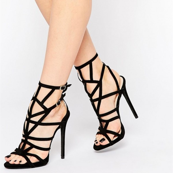 Women's Black Stiletto Heels Caged Sandals image 1