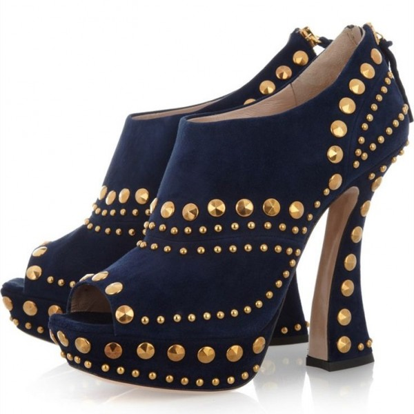 Navy Studs Shoes Peep Toe Suede Fashion Ankle Booties image 1