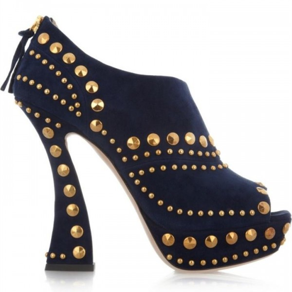 Navy Studs Shoes Peep Toe Suede Fashion Ankle Booties image 2