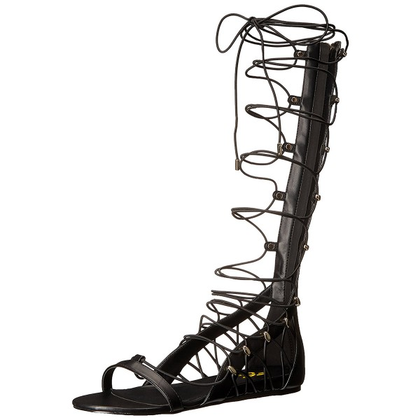 Women's Black Strappy Knee High Gladiator Sandals Open Toe Sandal Flats  image 3