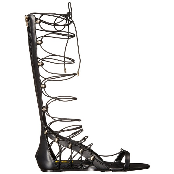 Women's Black Strappy Knee High Gladiator Sandals Open Toe Sandal Flats  image 5