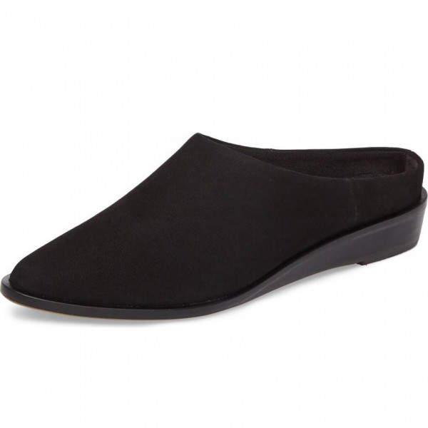 Women's Black Suede Mule Round Toe Comfortable Flats image 1