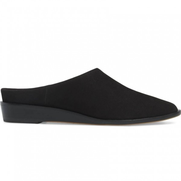 Women's Black Suede Mule Round Toe Comfortable Flats image 2