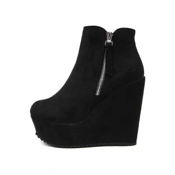 Women's Black Suede Round Toe Wedge Heels Ankle Boots with Zipper image 1