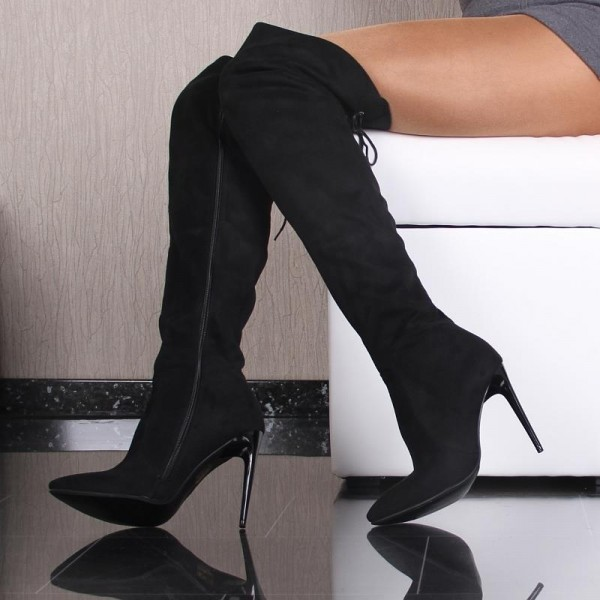 Women's Black Suede Sexy Stiletto Boots Pointy Toe Thigh High Boots image 1