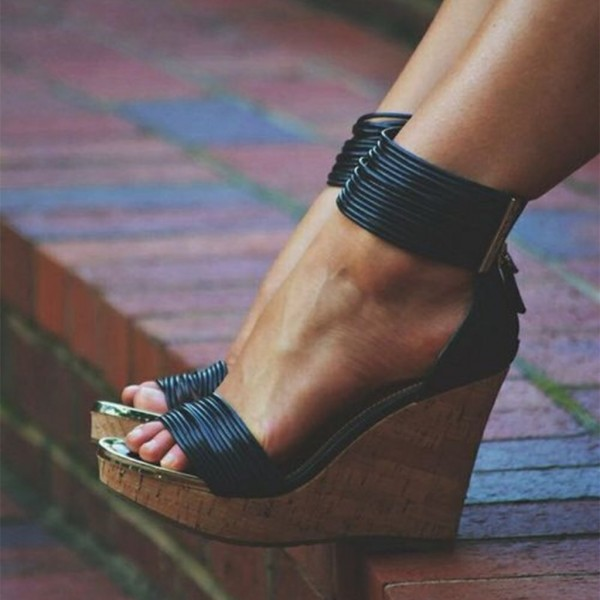 Black Cork Wedges Open Toe Platform Ankle Strap Sandals for Party ...
