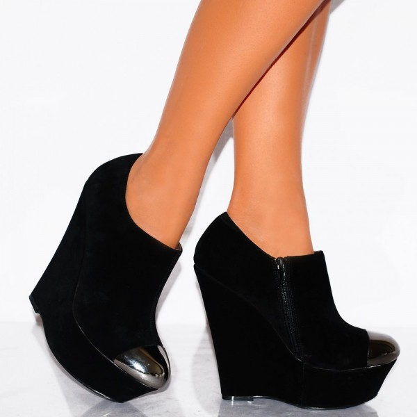 Women's Black Wedge Shoes Pewter Almond Toe Ankle Booties image 3