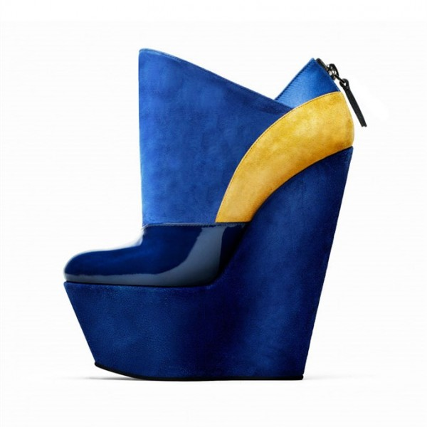 Royal Blue Wedge Booties Patent Leather and Suede Platform Boots  image 1