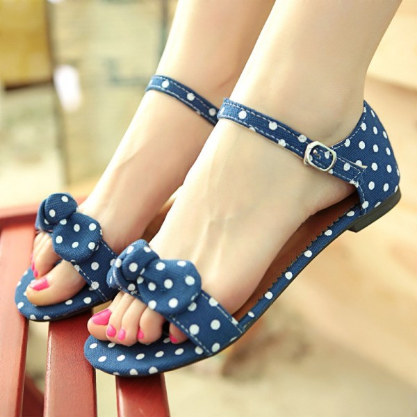 Women's Blue Bow Ankle Strap  Buckle Comfortable Flats Sandals image 1