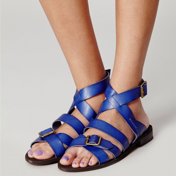 Women's Blue  Buckle  Flats Gladiator Sandals image 4