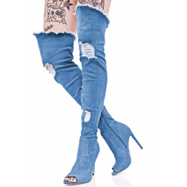 Blue Jeans Stiletto Heel Long Boots Peep Toe Over-the-Knee Denim Boots image 1