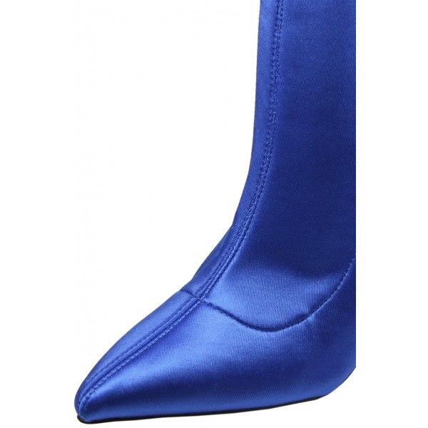 Fashion Blue Satin Stiletto Boots Elastic Pointy Toe Ankle Boots  image 3