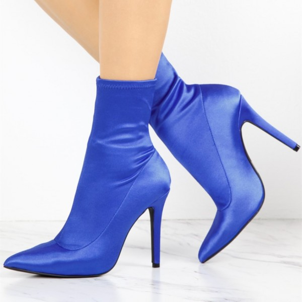 Fashion Blue Satin Stiletto Boots Elastic Pointy Toe Ankle Boots  image 1