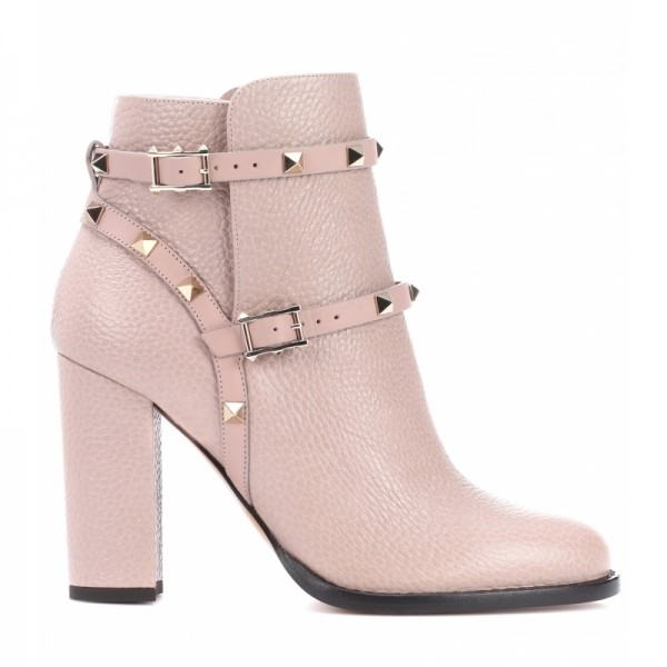 Women's Blush Fashion Boots Chunky Heels Comfy Shoes with Rockstuds image 6