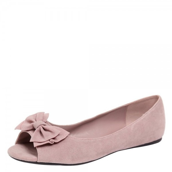 Women's Blush Suede Bow Wedding Flats image 1