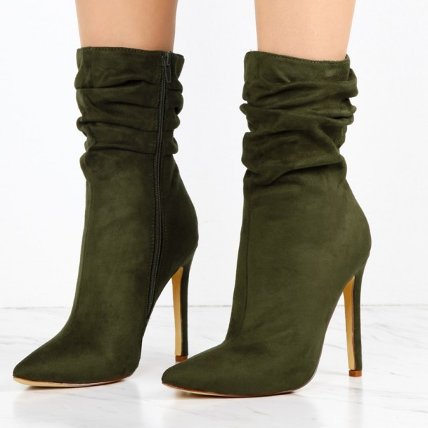 Olive Suede Slouch Boots Pointy Toe Stiletto Heel Ankle Booties image 1