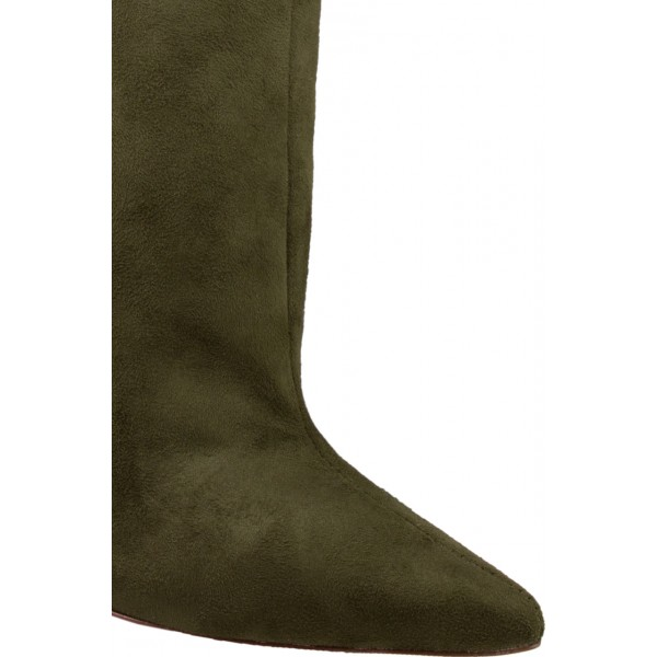 Olive Suede Slouch Boots Pointy Toe Stiletto Heel Ankle Booties image 3