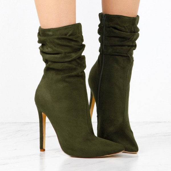 Olive Suede Slouch Boots Pointy Toe Stiletto Heel Ankle Booties image 2