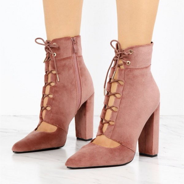 Women's Brick Red Lace Up Boots Suede Retro Chunky Heels Ankle Boots image 1