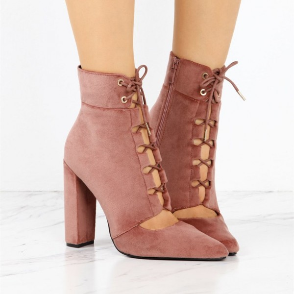 Women's Brick Red Lace Up Boots Suede Retro Chunky Heels Ankle Boots image 2