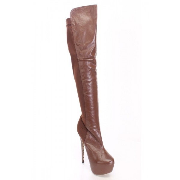 Brown Platform Boots Stiletto Heel Knee High Long Boots image 3