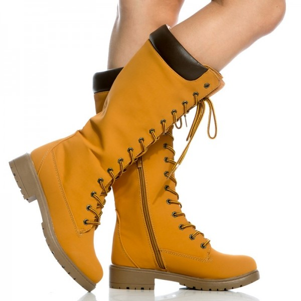 Women's Mustard Lace Up Boots Retro Casual Mid Calf Flat Boots image 2