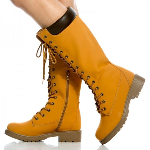 Women's Mustard Lace Up Boots Retro Casual Mid Calf Flat Boots image 1